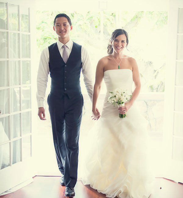 Happy bride and groom Hawaii destination wedding
