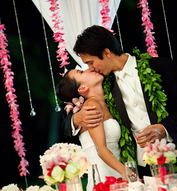 Happy bride and groom at a Hawaii destination wedding by wedding planner Mango Muse Events and Passport to Joy