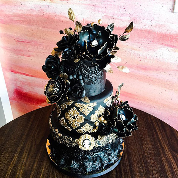 Black detailed wedding cake by Pretty Please Bakeshop
