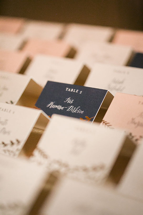 Multi colored seating cards for a plated meal for an elegant destination wedding in San Francisco by Destination wedding planner Mango Muse Events creator of Passport to Joy