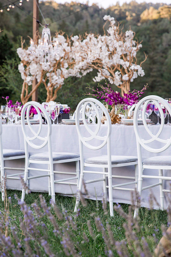 An elegant wedding reception at Calistoga Ranch by Destination wedding planner Mango Muse Events creator of Passport to Joy