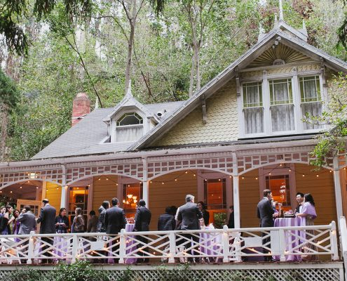 Guest mingling at the Stern Grove wedding venue for this San Francisco destination wedding by Destination wedding planner, Mango Muse Events creator of Passport to Joy