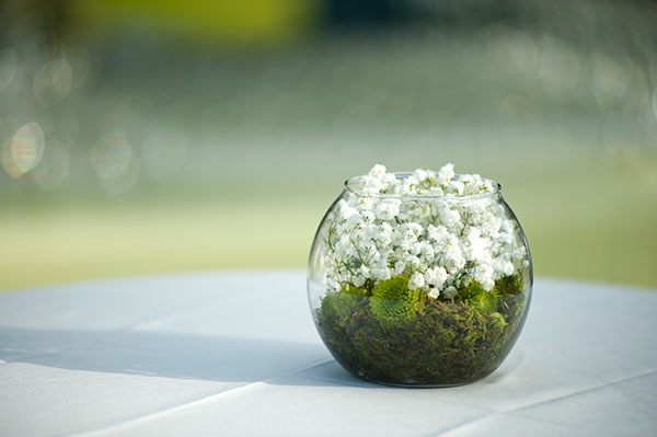 Simple babys breath mums and moss floral centerpiece for a wedding in Hawaii by destination wedding planner, Mango Muse Events creator of Passport to Joy