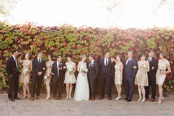 Wedding party at a fall wedding in Sonoma by Destination wedding planner, Mango Muse Events creator of Passport to Joy