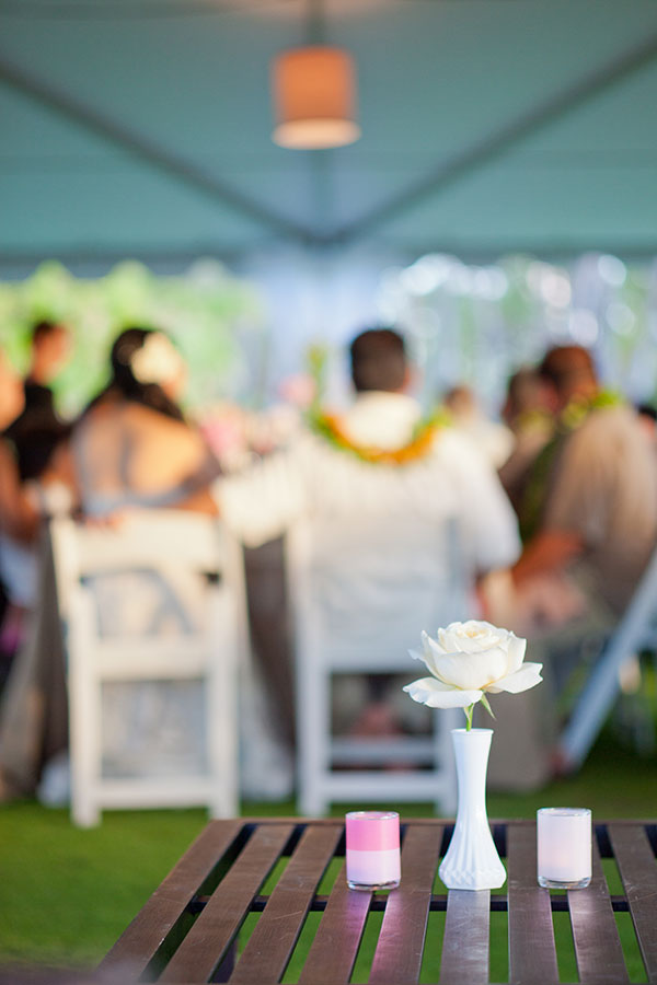 Wedding reception decor at a wedding in Hawaii by Destination wedding planner Mango Muse Events creator of Passport to Joy