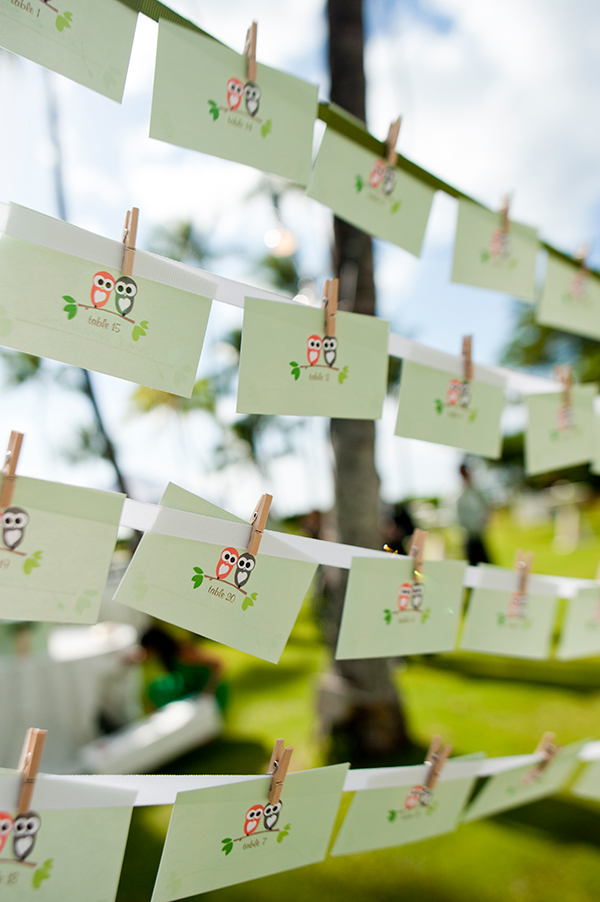 Custom owl designed escort cards on a hanging display at the wedding in Hawaii from Mango Muse Events creator of Passport to Joy online wedding planning program