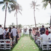 Wedding ceremony at a destination wedding in Hawaii from Mango Muse Events creator of Passport to Joy, an step by step online wedding planning program.