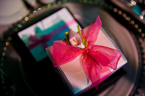 Wedding favors at a modern classic black and pink wedding in Sonoma by destination wedding planner Mango Muse Events and creator of Passport to Joy online wedding planning program