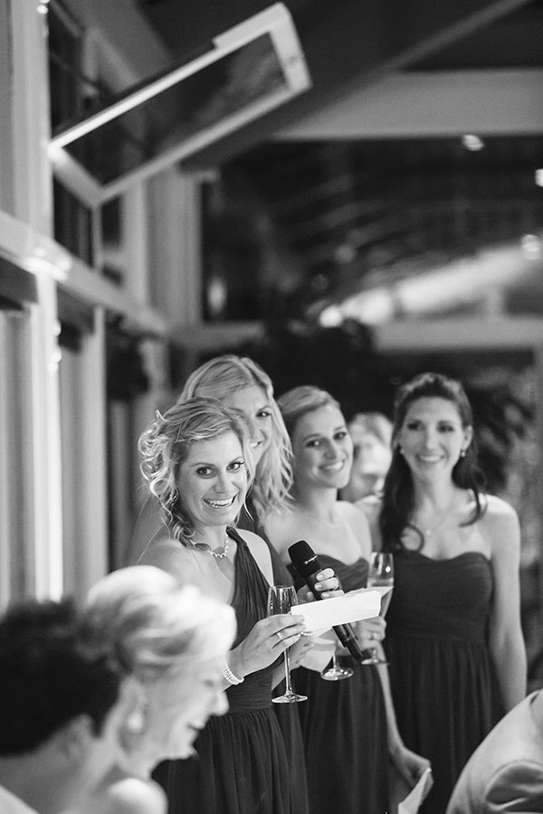Bridesmaids group toast at a Carmel wedding by destination wedding planner Mango Muse Events creator of Passport to Joy online wedding planning program