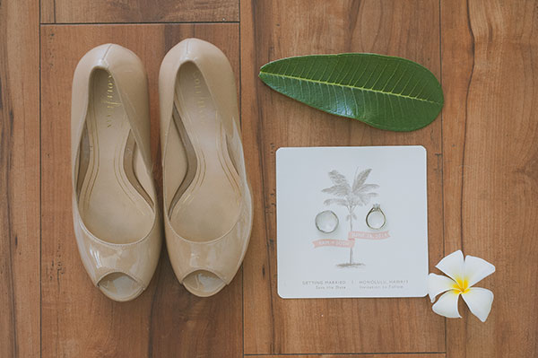 Wedding invitation, bridal shoes and wedding rings details for a Hawaii wedding by destination wedding planner Mango Muse Events creator of Passport to Joy the online wedding planning course for couples