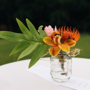 Tropical wedding floral centerpiece for a Hawaii wedding by destination wedding planner Mango Muse Events creator of Passport to Joy the online wedding planning course for couples