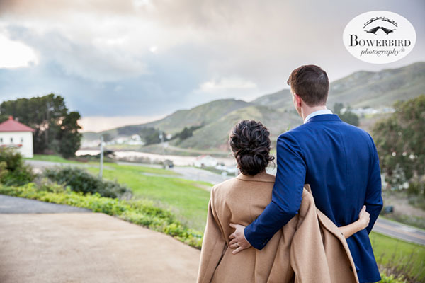 Bride and groom checking out the view at their Marin Headlands wedding by destination wedding planner Mango Muse Events creator of Passport to Joy the online wedding planning course for couples