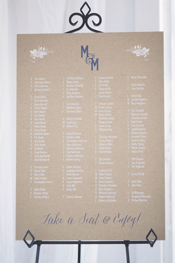 Seating chart at a wine country wedding by destination wedding planner, Mango Muse Events creator of Passport to Joy the online wedding planning course for couples