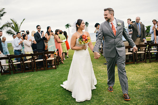 Bride and groom just married at their wedding ceremony in Hawaii by destination wedding planner Mango Muse Events creator of Passport to Joy, the online wedding planning course for couples