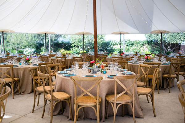 Spring colorful wedding reception tent for a Sonoma destination wedding by destination wedding planner Mango Muse Events creator of Passport to Joy the online wedding planning course for couples