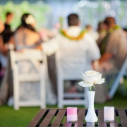 Bud vase and custom votives at a tent wedding in Hawaii by destination wedding planner Mango Muse Events creator of Passport to Joy, online wedding planner for couples