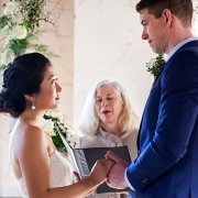 Intimate wedding ceremony moment at the Marin Headlands Center for the Arts by San Francisco destination wedding planner Mango Muse Events creator of Passport to Joy the online wedding planning course for couples
