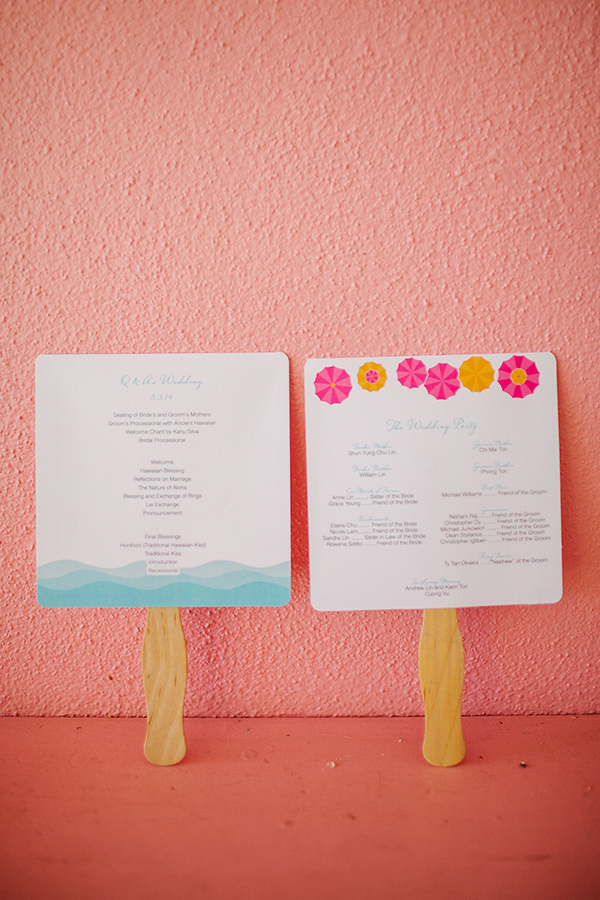 Colorful paper wedding program fans for a tropical beach wedding in Hawaii by destination wedding planner Mango Muse Events creator of Passport to Joy online wedding planning course for couples
