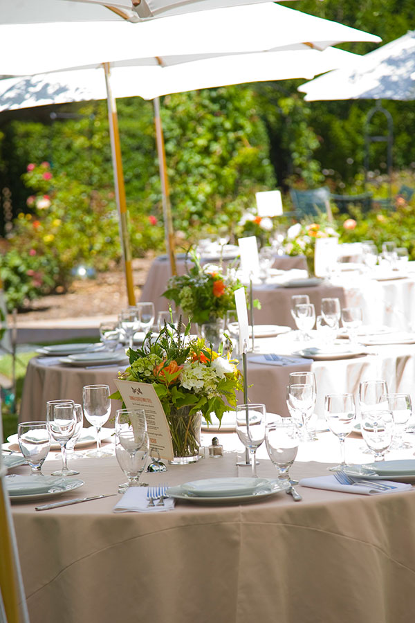 Wedding reception tables for a summer wedding in Healdsburg wine country by destination wedding planner Mango Muse Events creator of Passport to Joy the online wedding planning course for couples