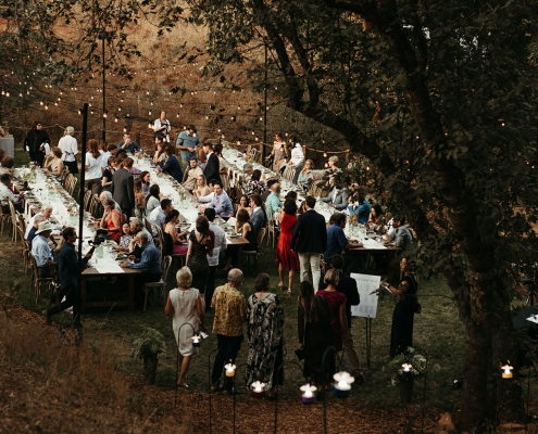 Boho rustic Yosemite wedding reception at Autocamp by destination wedding planner Mango Muse Events creator of Passport to Joy online wedding planning program for couples