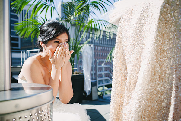 Excited bride waiting in anticipation on her wedding day for the first look of her fiance by destination wedding planner Mango Muse Events creator of Passport to Joy online wedding planning course for couples