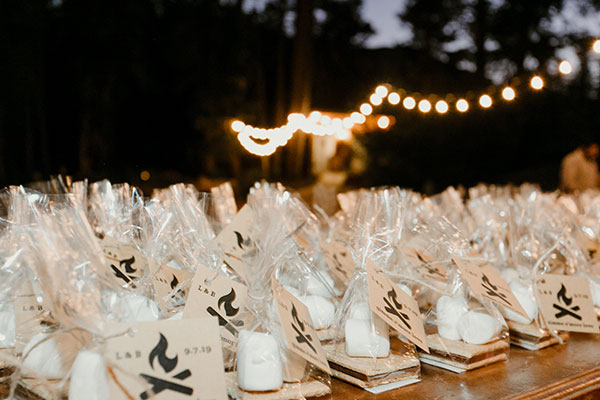 Smores wedding favors for a camping outdoor mountain wedding by destination wedding planner Mango Muse Events creator of Passport to Joy online wedding planners