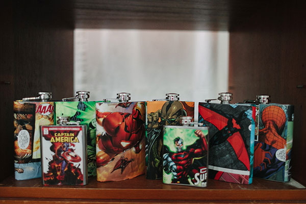 Superhero flasks as groomsmen gifts at a fun wedding in Hawaii by destination wedding planner Mango Muse Events creator of Passport to Joy online wedding planning course for couples