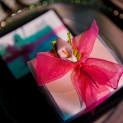 Wedding favors at a modern classic black and pink wedding in Sonoma by destination wedding planner Mango Muse Events and creator of Passport to Joy online wedding planning course for couples