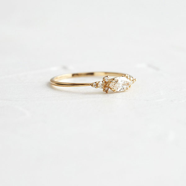 Marquise engagement ring 14K gold by Melanie Casey ring shopping tips by Passport to Joy online wedding planners