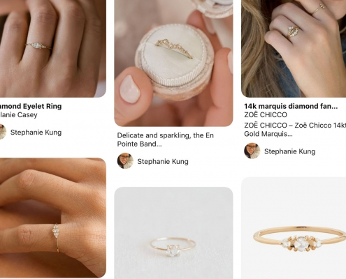 A Pinterest board for online engagement ring shopping for minimalist delicate rings with planning tips by Passport to Joy online wedding planners