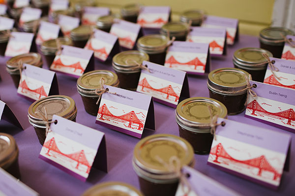 Homemade jam as wedding favors and seating cards for a San Francisco wedding by wedding planner Mango Muse Events creator of Passport to Joy online wedding planners