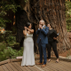 Just married newlyweds celebrating at their micro wedding ceremony from wedding planner turned bride by Passport to Joy online wedding planners